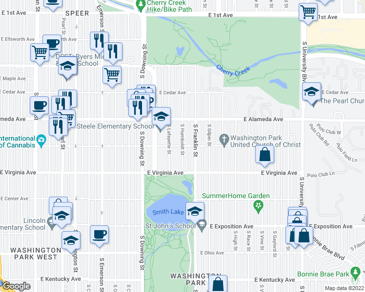 map of restaurants, bars, coffee shops, grocery stores, and more near East Dakota Avenue & South Humboldt Street in Denver