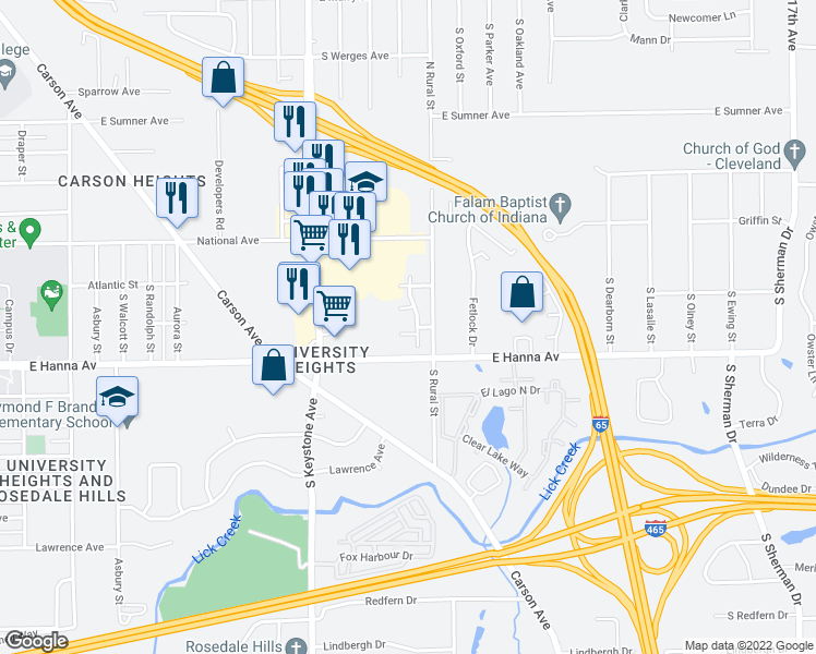 map of restaurants, bars, coffee shops, grocery stores, and more near 2760 Cherry Glen Way in Indianapolis