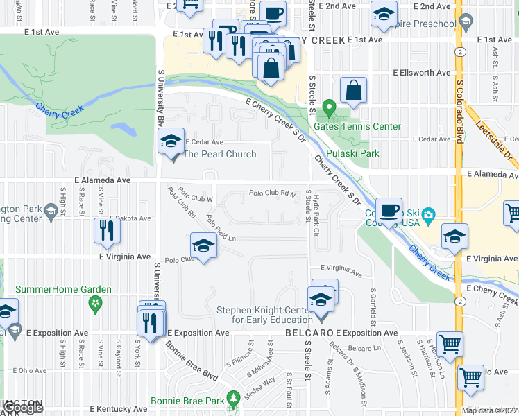 map of restaurants, bars, coffee shops, grocery stores, and more near 2552 East Alameda Avenue in Denver