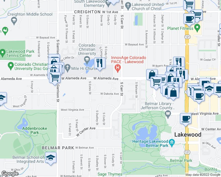 map of restaurants, bars, coffee shops, grocery stores, and more near 8545-8555 West Dakota Avenue in Lakewood