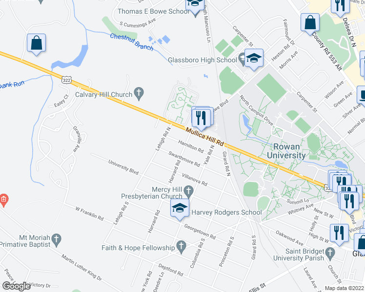 map of restaurants, bars, coffee shops, grocery stores, and more near 400 Hamilton Road in Glassboro