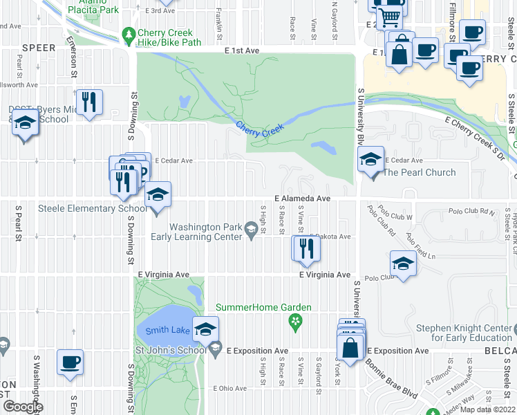 map of restaurants, bars, coffee shops, grocery stores, and more near 317 South High Street in Denver