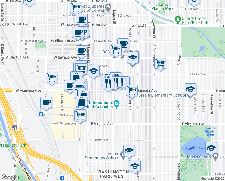 map of restaurants, bars, coffee shops, grocery stores, and more near East Alameda Avenue & South Logan Street in Denver