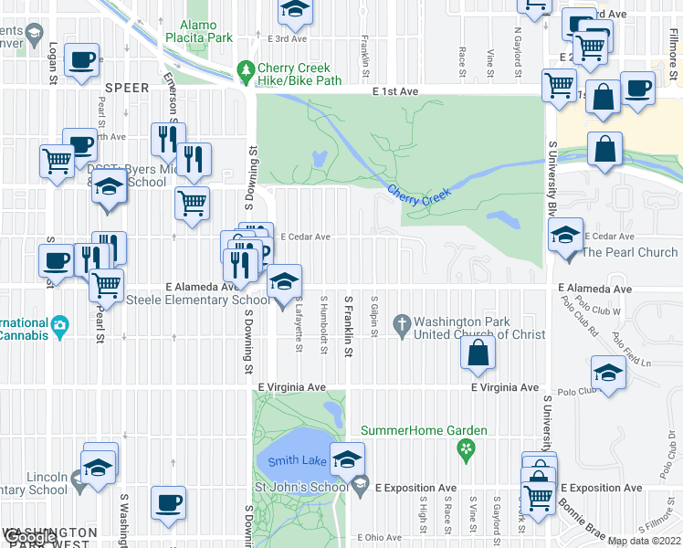 map of restaurants, bars, coffee shops, grocery stores, and more near 277 South Franklin Street in Denver
