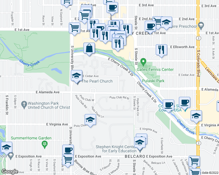 map of restaurants, bars, coffee shops, grocery stores, and more near 2891 East Alameda Avenue in Denver