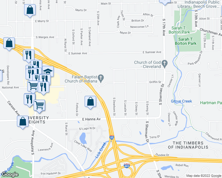 map of restaurants, bars, coffee shops, grocery stores, and more near 3818 South Dearborn Street in Indianapolis