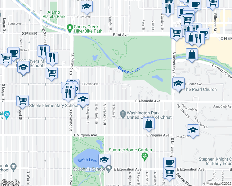 map of restaurants, bars, coffee shops, grocery stores, and more near 246 South Gilpin Street in Denver