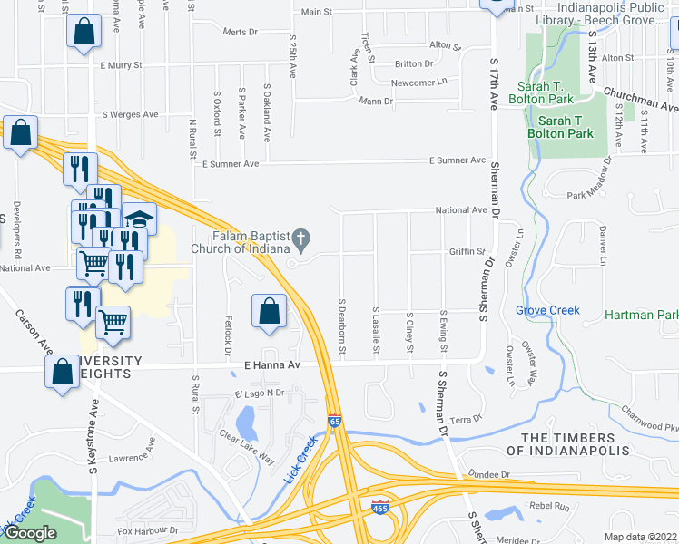 map of restaurants, bars, coffee shops, grocery stores, and more near 3818 S Dearborn St in Indianapolis