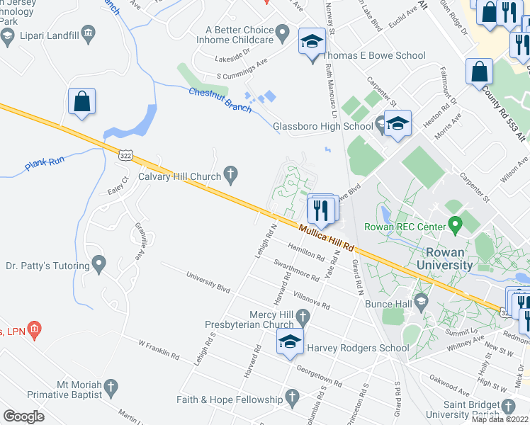 map of restaurants, bars, coffee shops, grocery stores, and more near 517 Mullica Hill Road in Glassboro