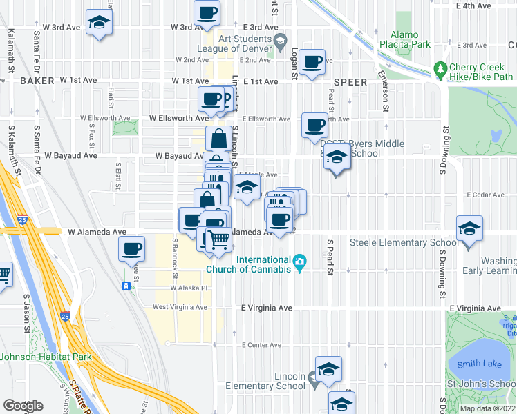 map of restaurants, bars, coffee shops, grocery stores, and more near 232 South Sherman Street in Denver