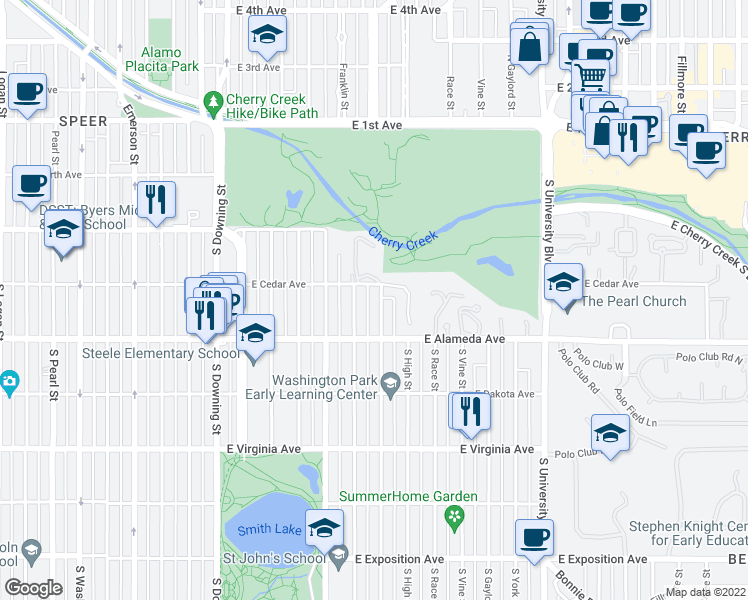 map of restaurants, bars, coffee shops, grocery stores, and more near 225 South Williams Street in Denver