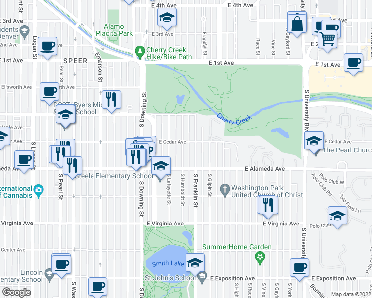 map of restaurants, bars, coffee shops, grocery stores, and more near 220 South Humboldt Street in Denver