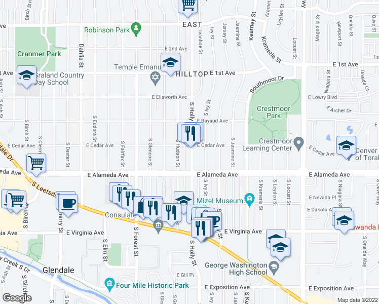 map of restaurants, bars, coffee shops, grocery stores, and more near 219 South Holly Street in Denver