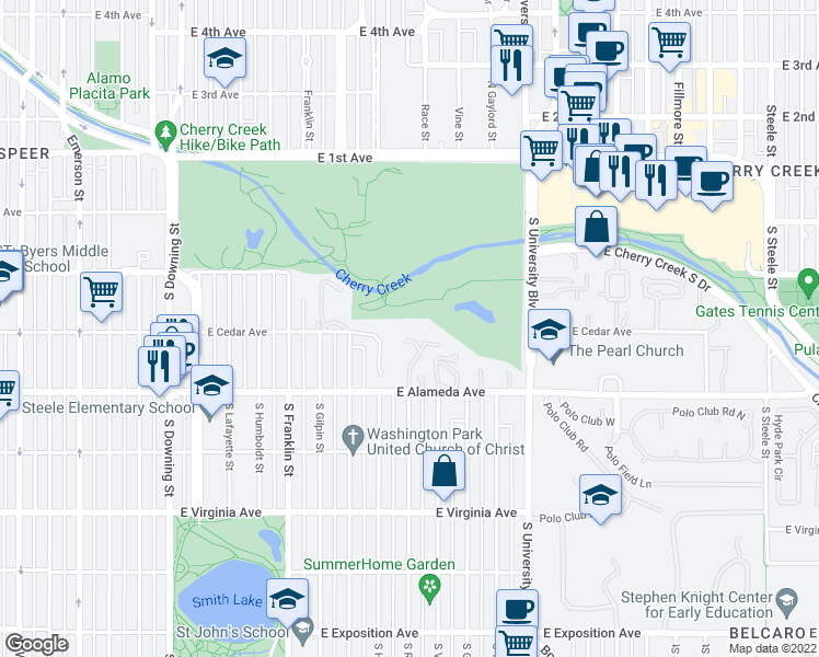 map of restaurants, bars, coffee shops, grocery stores, and more near 1991 6th Avenue in Denver