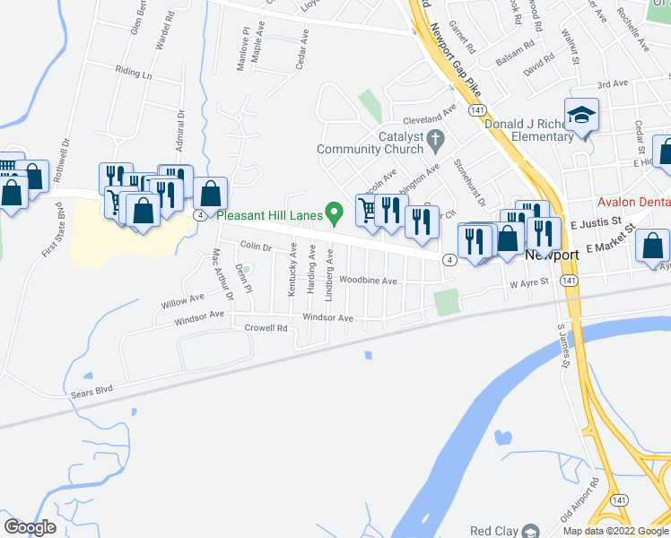 map of restaurants, bars, coffee shops, grocery stores, and more near 99 Lindberg Avenue in Wilmington