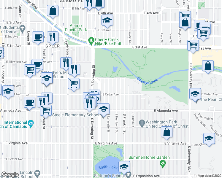 map of restaurants, bars, coffee shops, grocery stores, and more near 164 South Lafayette Street in Denver