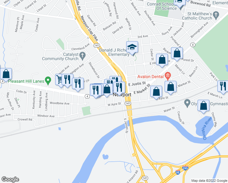 map of restaurants, bars, coffee shops, grocery stores, and more near 4 North John Street in Wilmington