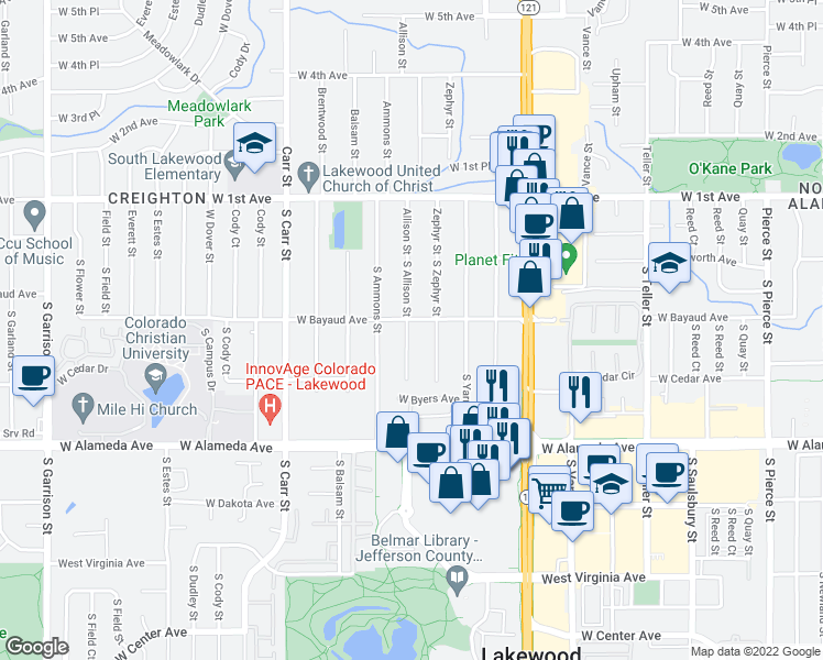 map of restaurants, bars, coffee shops, grocery stores, and more near in Lakewood