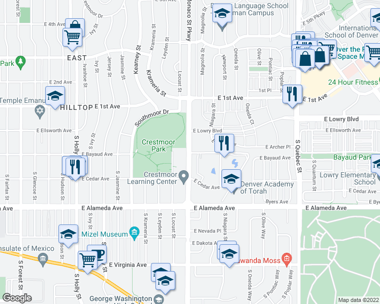 map of restaurants, bars, coffee shops, grocery stores, and more near 1-65 South Monaco Parkway in Denver