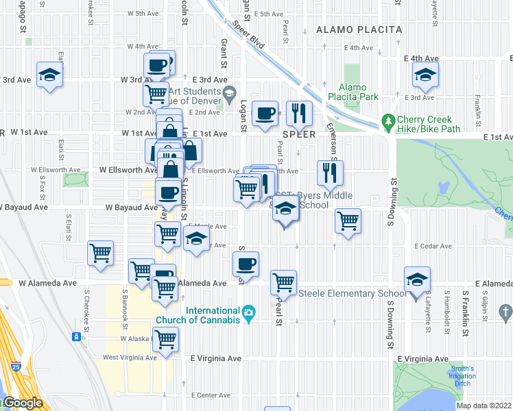 map of restaurants, bars, coffee shops, grocery stores, and more near 431 East Bayaud Avenue in Denver