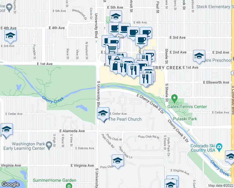 map of restaurants, bars, coffee shops, grocery stores, and more near 2500 Cherry Creek South Drive in Denver