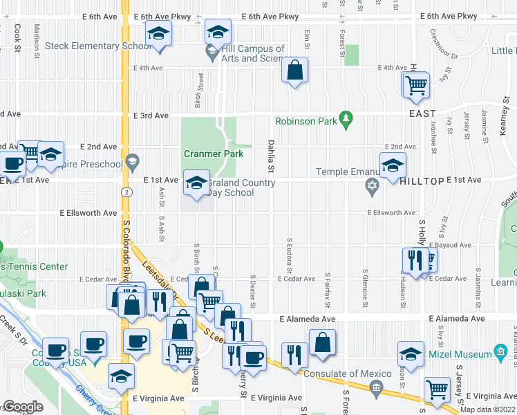 map of restaurants, bars, coffee shops, grocery stores, and more near 10 Dexter Street in Denver