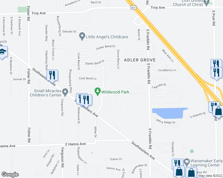 map of restaurants, bars, coffee shops, grocery stores, and more near 8122 Corktree Drive in Indianapolis