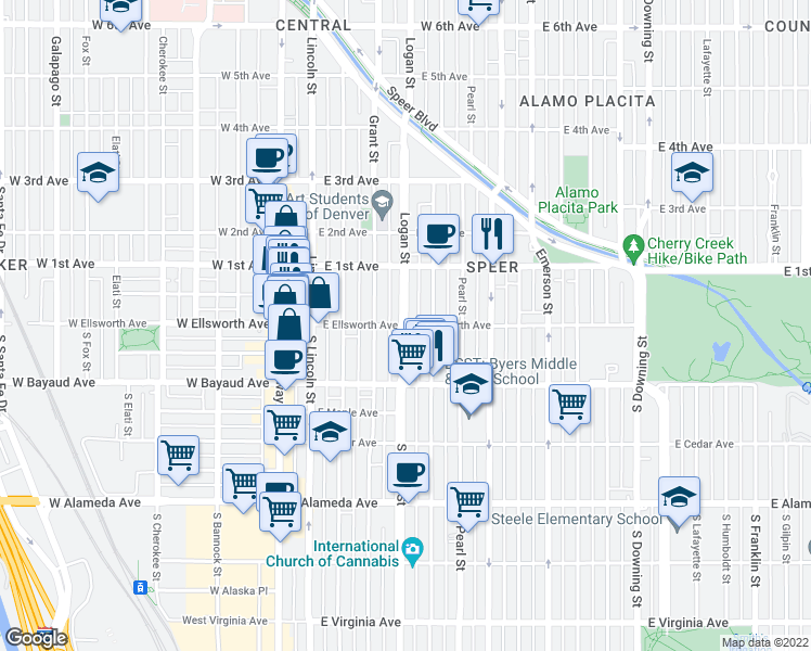 map of restaurants, bars, coffee shops, grocery stores, and more near S Logan St & E Ellsworth Ave in Denver