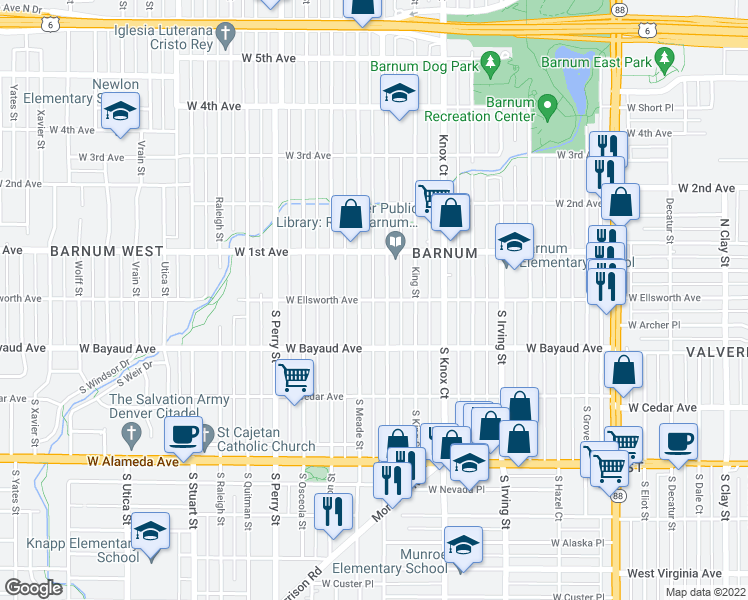 map of restaurants, bars, coffee shops, grocery stores, and more near W Ellsworth Ave in Denver