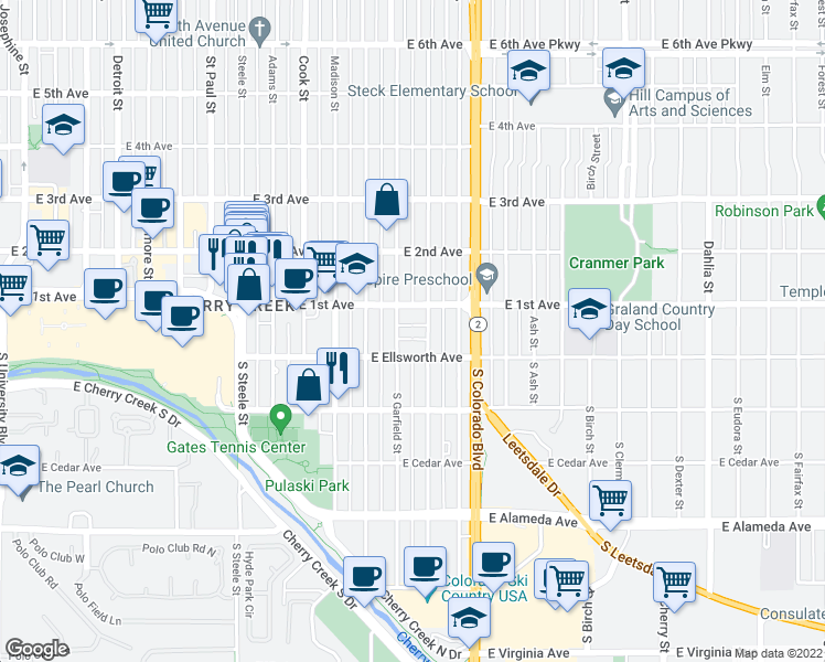 map of restaurants, bars, coffee shops, grocery stores, and more near 45 Jackson Street in Denver