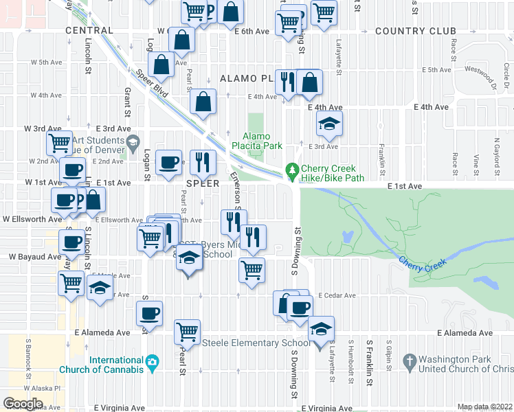 map of restaurants, bars, coffee shops, grocery stores, and more near 40 Ogden Street in Denver