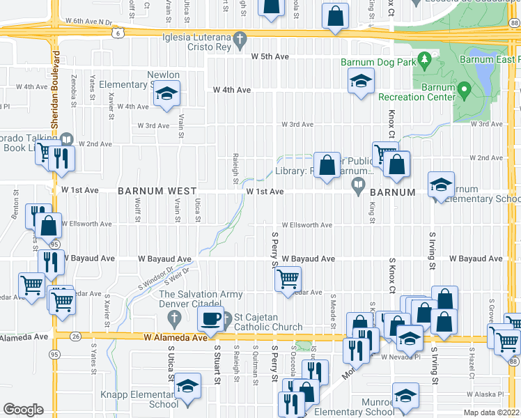 map of restaurants, bars, coffee shops, grocery stores, and more near 34 Quitman Street in Denver