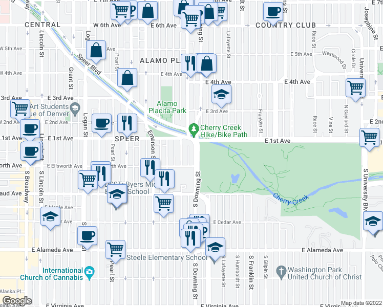 map of restaurants, bars, coffee shops, grocery stores, and more near 1300-1398 East 10th Avenue in Denver