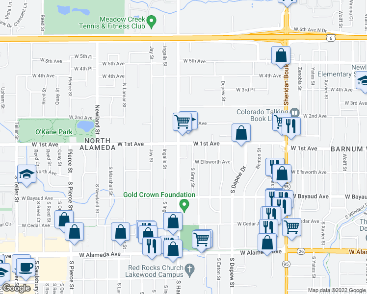 map of restaurants, bars, coffee shops, grocery stores, and more near 76 Harlan St in Denver