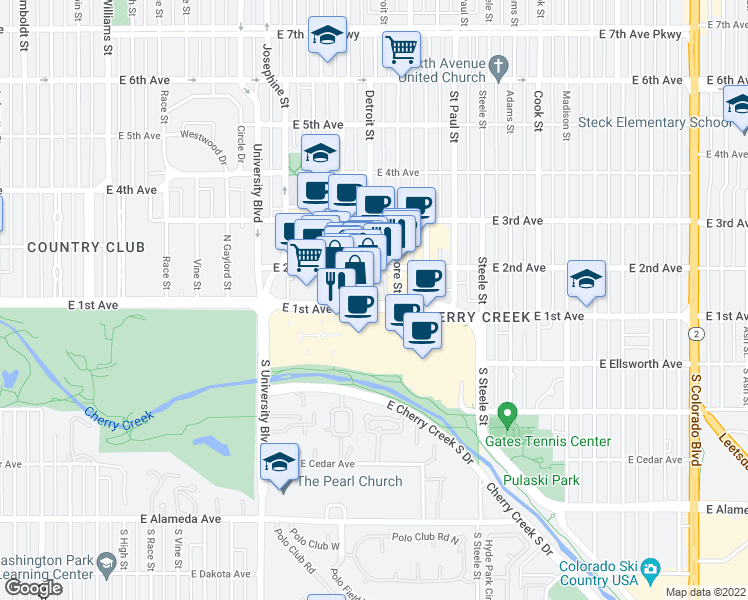 map of restaurants, bars, coffee shops, grocery stores, and more near 100 Detroit Street in Denver
