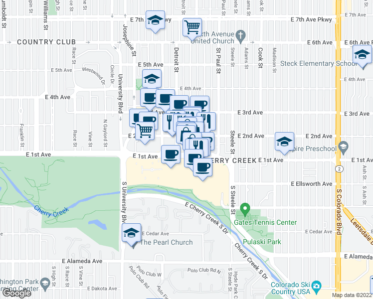 map of restaurants, bars, coffee shops, grocery stores, and more near 201 Fillmore Street in Denver