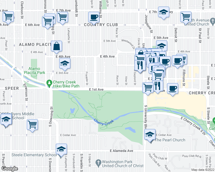 map of restaurants, bars, coffee shops, grocery stores, and more near 100 High Street in Denver