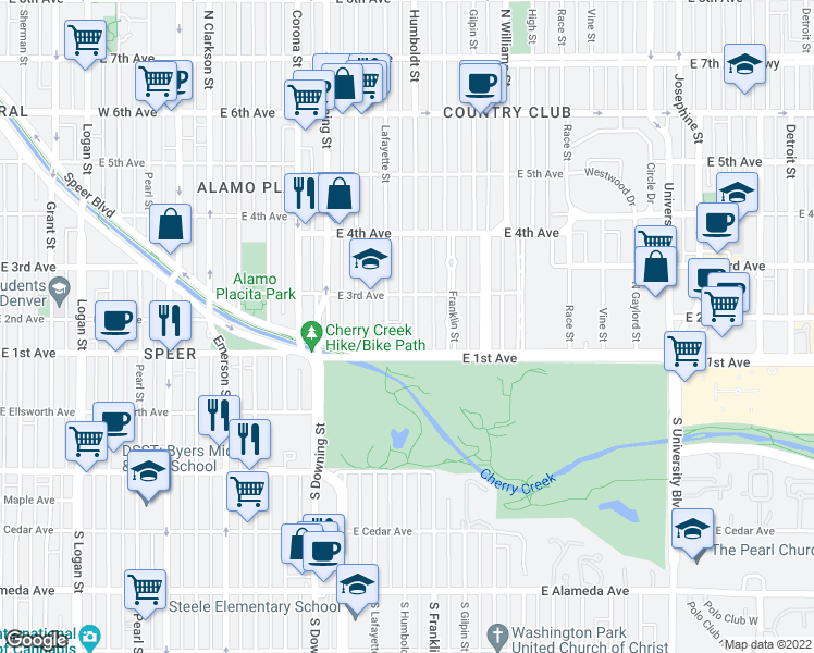 map of restaurants, bars, coffee shops, grocery stores, and more near 145 Humboldt Street in Denver