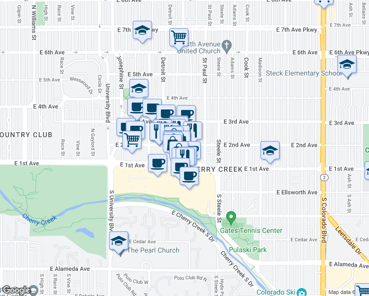 map of restaurants, bars, coffee shops, grocery stores, and more near 2930 East 2nd Avenue in Denver
