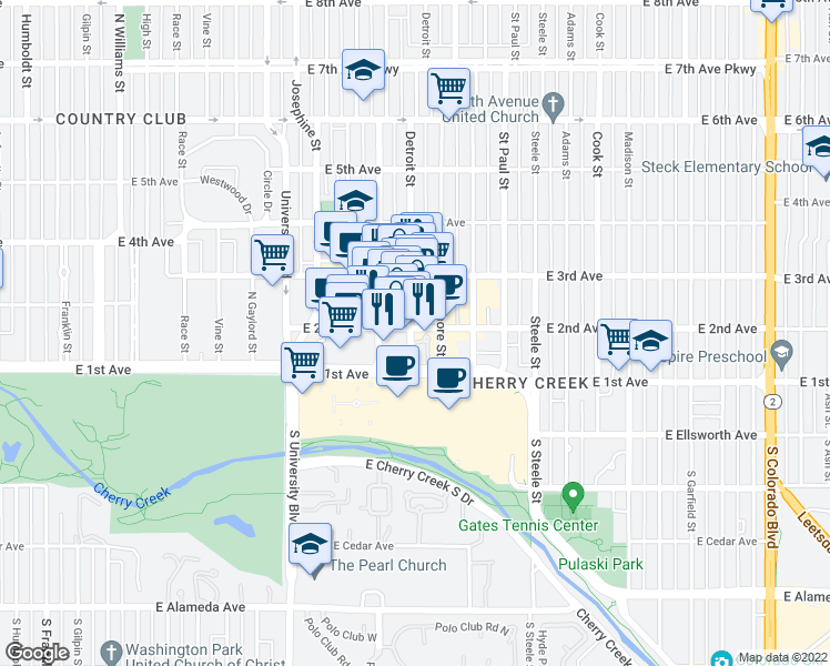 map of restaurants, bars, coffee shops, grocery stores, and more near 2800 East 2nd Avenue in Denver