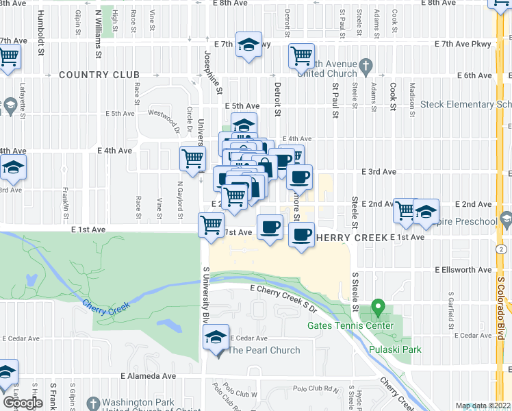 map of restaurants, bars, coffee shops, grocery stores, and more near 191 Clayton Lane in Denver