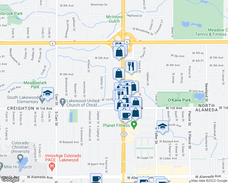 map of restaurants, bars, coffee shops, grocery stores, and more near Yukon Street in Denver