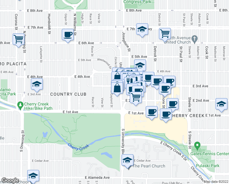 map of restaurants, bars, coffee shops, grocery stores, and more near 240 Gaylord Street in Denver