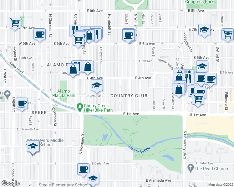 map of restaurants, bars, coffee shops, grocery stores, and more near 305 Franklin Street in Denver