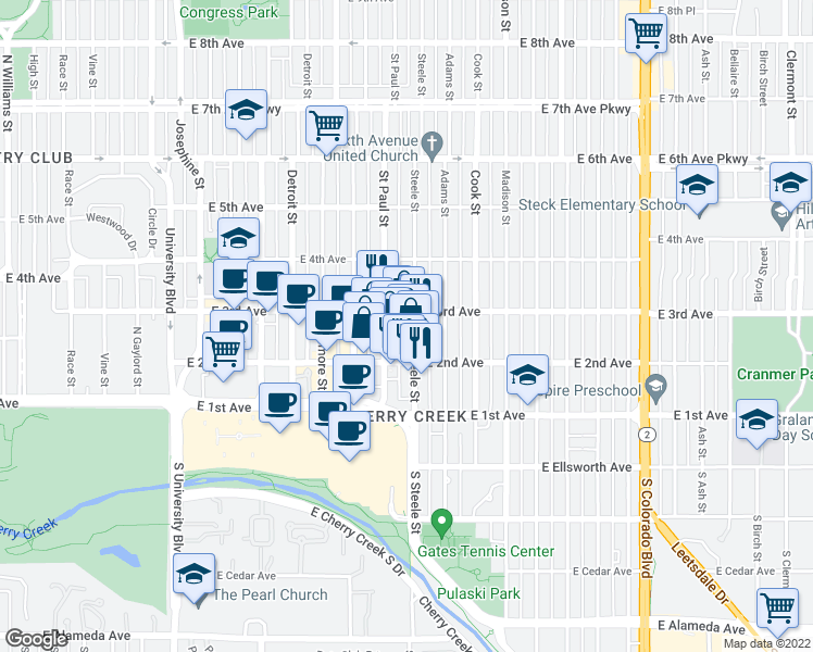 map of restaurants, bars, coffee shops, grocery stores, and more near 251 Steele Street in Denver