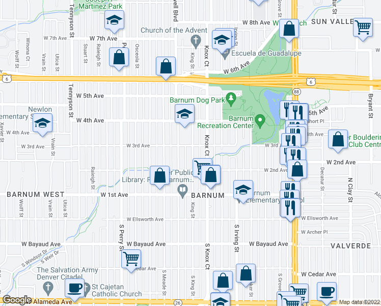 map of restaurants, bars, coffee shops, grocery stores, and more near 273 King Street in Denver
