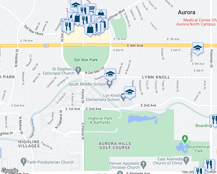 map of restaurants, bars, coffee shops, grocery stores, and more near 300-388 Quentin Street in Aurora