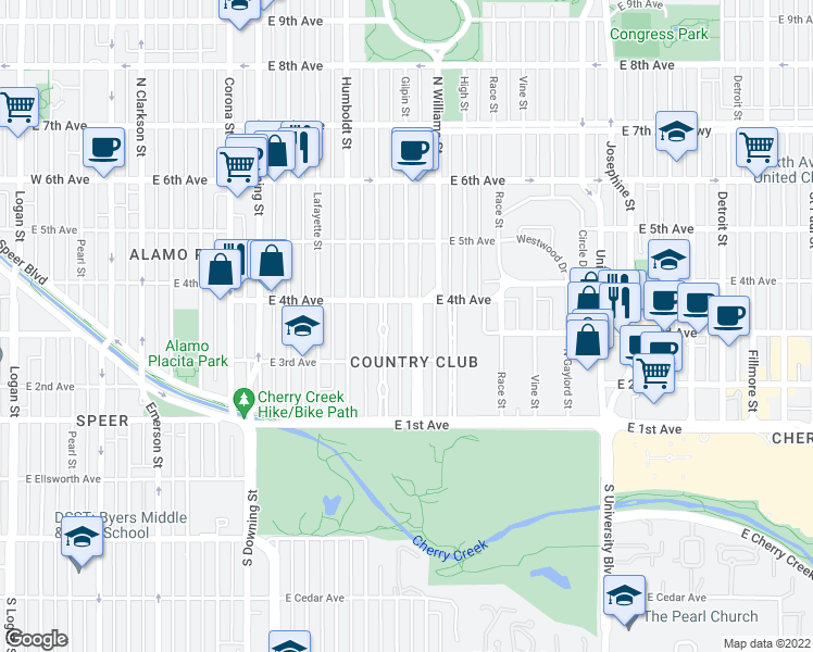 map of restaurants, bars, coffee shops, grocery stores, and more near 355 Gilpin Street in Denver