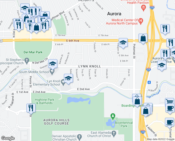 map of restaurants, bars, coffee shops, grocery stores, and more near 367 Tucson Street in Aurora
