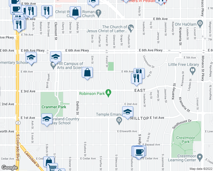 map of restaurants, bars, coffee shops, grocery stores, and more near 321 Forest Street in Denver